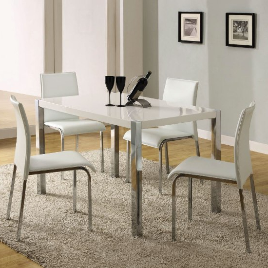 Famous Stefan High Gloss White Dining Table And 4 Chairs 4668 Throughout Gloss White Dining Tables (View 16 of 20)