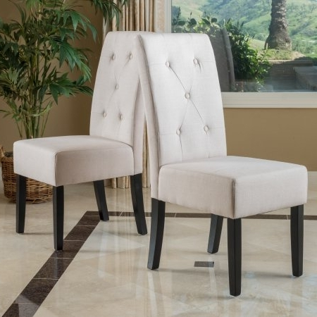 Famous Teagan Side Chairs Pertaining To Noble House Teagan Modern Contemporary Fabric Tufted Dining Chairs (View 3 of 20)