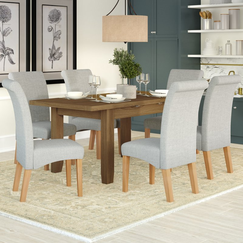 Famous Three Posts Berwick Extendable Dining Table And 6 Chairs & Reviews Intended For Extendable Dining Tables With 6 Chairs (View 13 of 20)