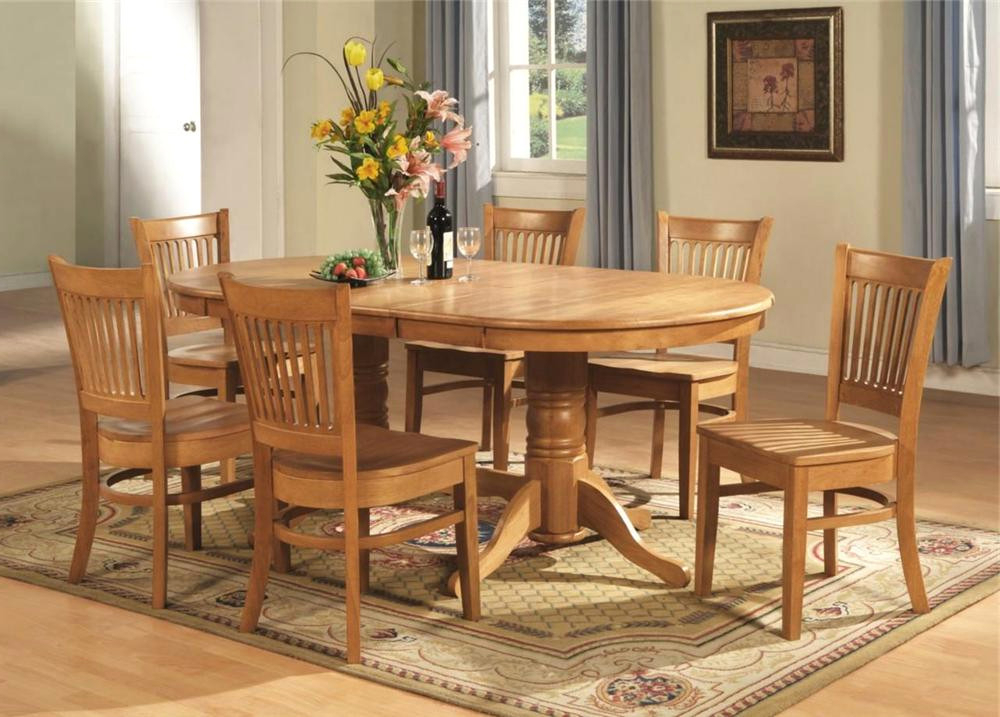 Famous Unique 7 Pc Vancouver Oval Dinette Dining Room Set Table And 6 – Oak Pertaining To Oval Oak Dining Tables And Chairs (View 4 of 20)
