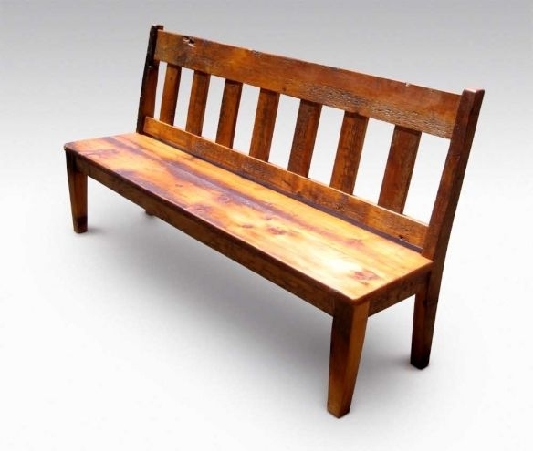 Farm Table Slatted Bench With Back (View 10 of 20)