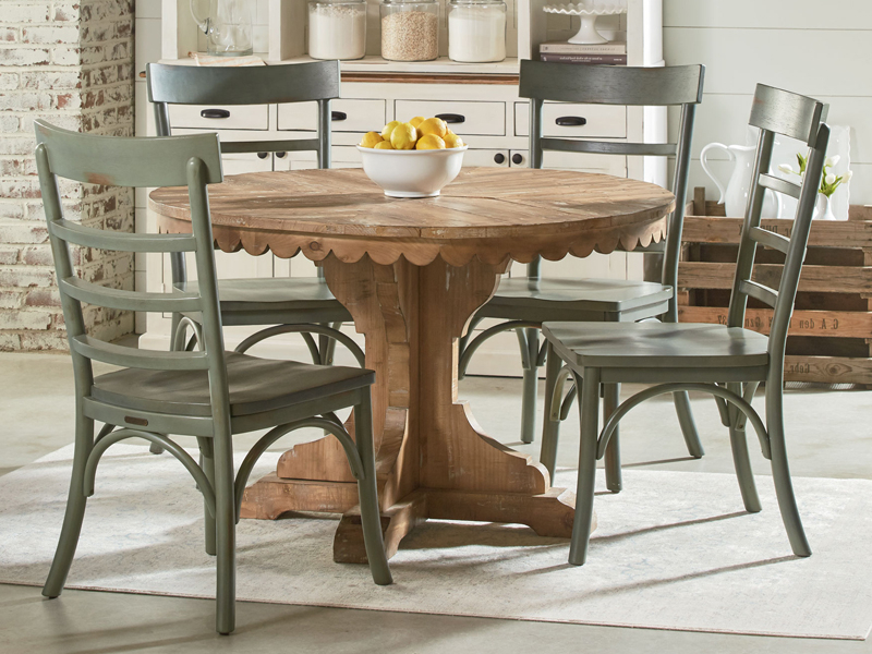 Farmhouse Top Tier Round Pedestal Tablemagnolia Home Throughout Latest Magnolia Home Breakfast Round Black Dining Tables (View 3 of 20)