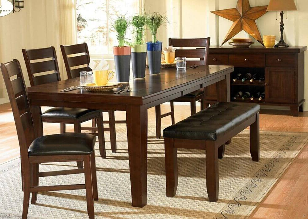 Fashionable 26 Dining Room Sets (Big And Small) With Bench Seating (2018) In Craftsman 7 Piece Rectangular Extension Dining Sets With Arm & Uph Side Chairs (View 10 of 20)