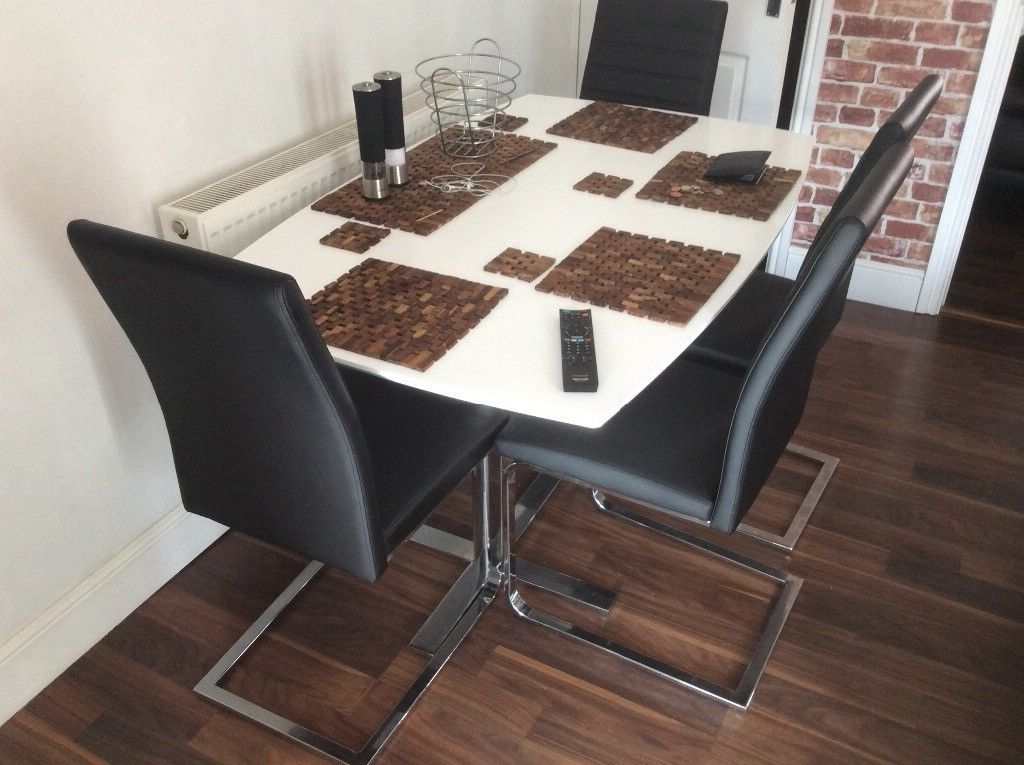 Fashionable Alcora Dining Chairs Throughout Harvey's Alcora Black Faux Dining Chairs X  (View 11 of 20)