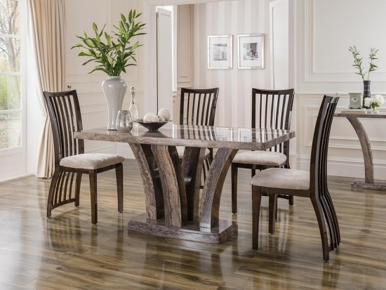 Fashionable Amalfi 180Cm Pearl Grey Marble Dining Table With 6 Elgin Chairs Ama In Amos Side Chairs (View 9 of 20)