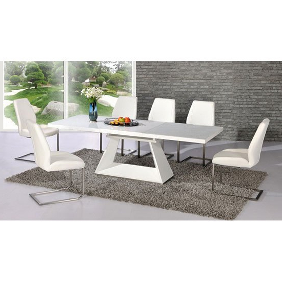 Fashionable Amsterdam White Glass And Gloss Extending Dining Table 6 Throughout Extendable Dining Tables And 6 Chairs (View 7 of 20)