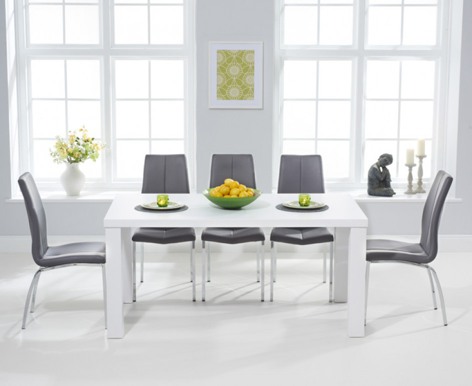 Fashionable Atlanta 180Cm White High Gloss Dining Table With Cavello Chairs Regarding Gloss Dining Tables (View 6 of 20)