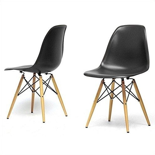 Fashionable Baxton Studio Azzo Shell Chair In Black (set Of 2) (View 2 of 20)