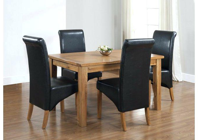 Fashionable Black And Oak Dining Table 4 Chairs Dining Table Black Oak Inside Oak Dining Tables And 4 Chairs (View 9 of 20)