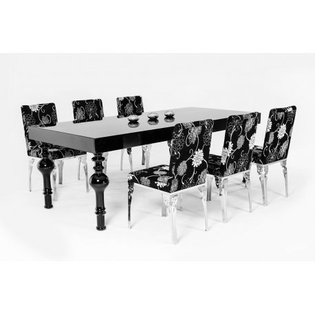 Fashionable Black High Gloss Dining Tables Regarding Modrest Nayri – Transitional Black High Gloss Dining Table – Jubilee (View 11 of 20)