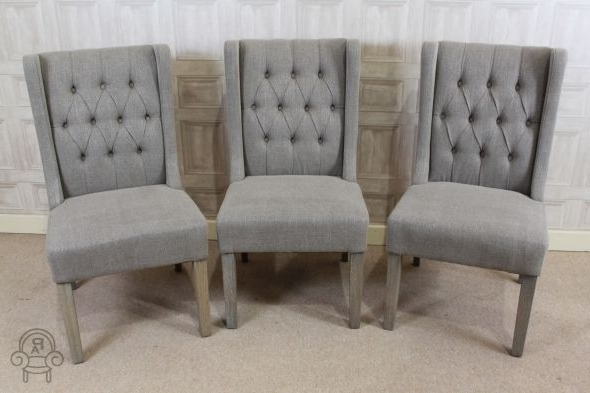 Fashionable Button Back Dining Chairs With Regard To Lovely Button Back French Style Upholstered Dining Chair In Stone (View 8 of 20)