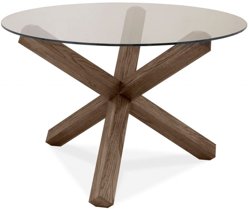 Fashionable Buy Bentley Designs Turin Dark Oak Round Glass Dining Table – 120Cm Intended For Round Glass And Oak Dining Tables (View 4 of 20)