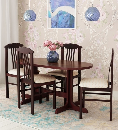Fashionable Buy Cairo Four Seater Dining Setelegancelooking Good Regarding Caira Extension Pedestal Dining Tables (View 7 of 20)