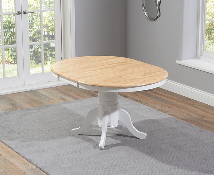 Fashionable Buy Mark Harris Elstree Oak And White Round Extending Dining Set Inside White Round Extendable Dining Tables (View 3 of 20)