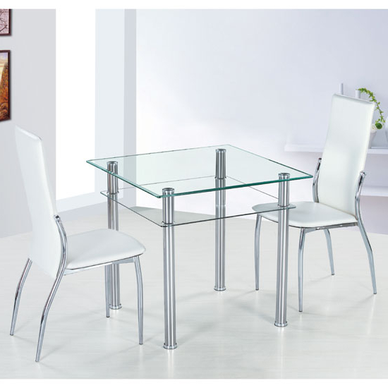 Fashionable Como Square Clear Glass Dining Table And 2 Ivory Pisa With Regard To Pisa Dining Tables (View 4 of 20)