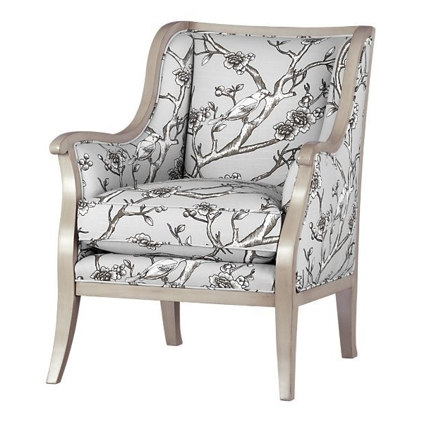 Fashionable Crate And Barrel Carly Chair With Dove Frame And Bird Fabric – Taupe Intended For Carly Side Chairs (View 7 of 20)
