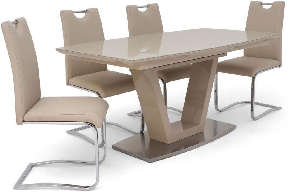 Fashionable Cream High Gloss Dining Tables Pertaining To Sydney 160cm 220cm Rectangular Extending Cream High Gloss Dining Set (View 11 of 20)