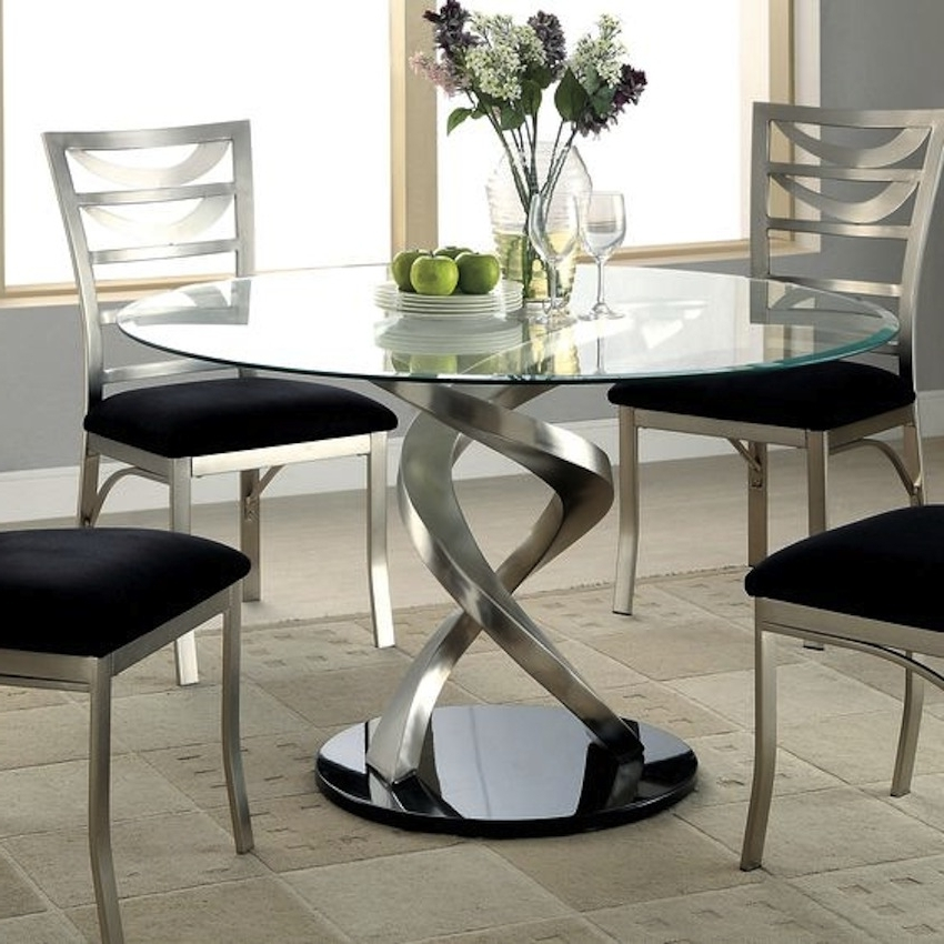 Fashionable Dining Room Modern Glass Kitchen Table Round Glass Dining Room Table Regarding Clear Glass Dining Tables And Chairs (View 13 of 20)