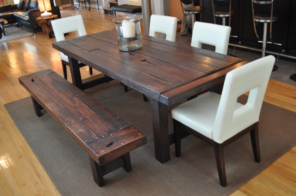 Fashionable Dining Room Rustic Chic Dining Table White Dining Table Set With With Small Dark Wood Dining Tables (Gallery 20 of 20)