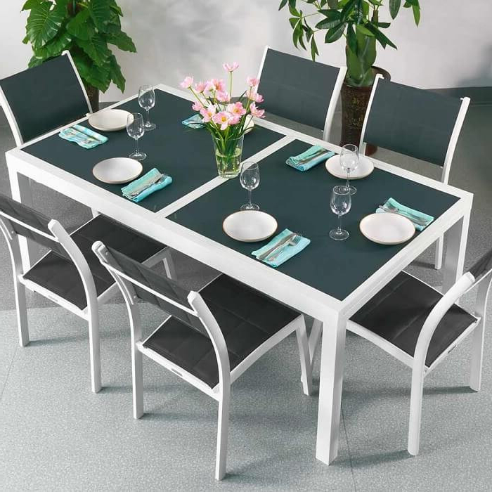 Fashionable Dining Table Set Florence White & Grey – 8 Person Aluminium & Glass In Extending Dining Table And Chairs (View 12 of 20)
