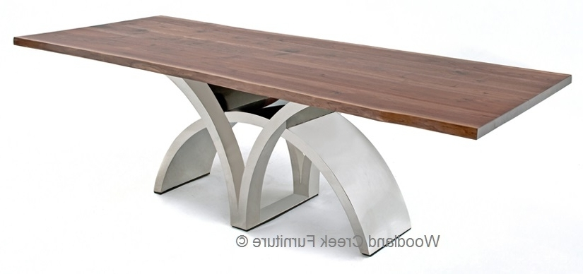 Fashionable Dining Table With Contemporary Stainless Steel Base With Regard To Contemporary Base Dining Tables (View 10 of 20)