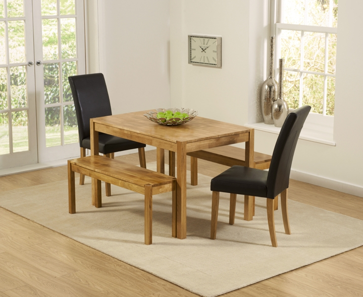 Fashionable Dining Tables And 2 Benches Inside Wickford Solid Oak 120Cm Dining Set With 2 Urbano Black Faux Leather (View 13 of 20)