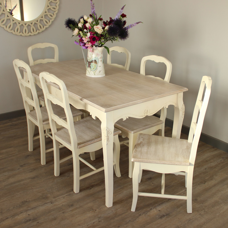 Fashionable Dining Tables And Chairs Sets Regarding Large Cream Painted Wooden Dining Table 6 Chair Set Vintage Country (View 17 of 20)