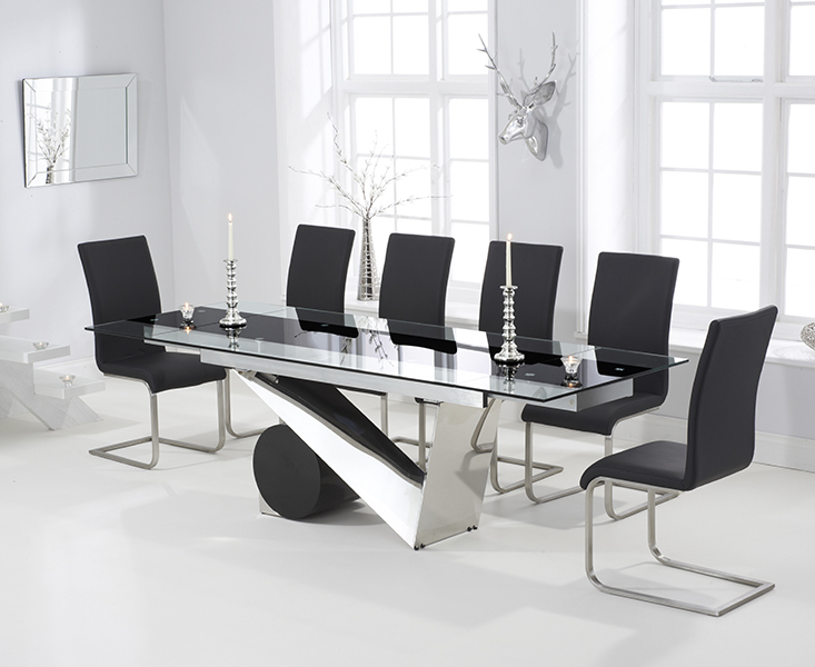 Fashionable Dining Tables Black Glass Pertaining To Pretoria 170Cm Extending Black Glass Dining Table With Malaga Chairs (View 13 of 20)