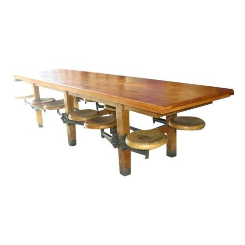 Fashionable Dining Tables With Attached Stools With Very Cool Vintage Twelve Seat Cafeteria Table With Attached Stools (View 7 of 20)