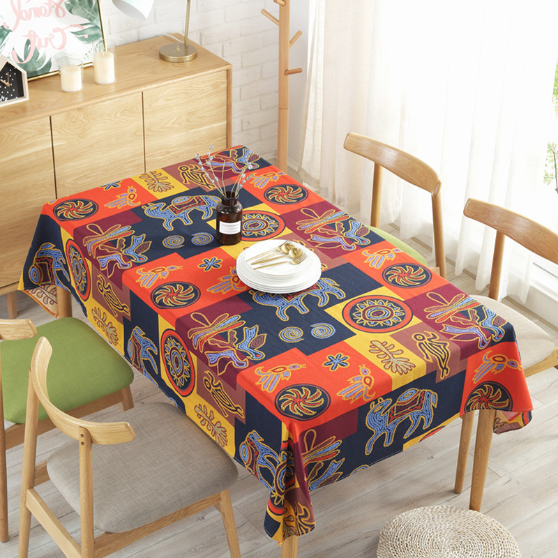 Fashionable Esquire New Indian Style Cotton Linen Tablecloth Cafe Bar Decoration Throughout Indian Style Dining Tables (Gallery 15 of 20)