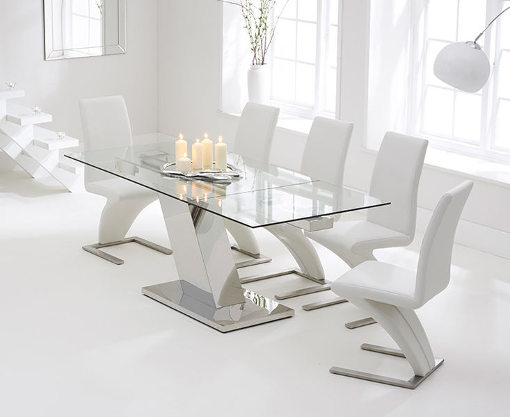 Fashionable Extending Glass Dining Tables And 8 Chairs With Luna 140Cm Extending Glass Dining Table With Hampstead Z Chairs (View 10 of 20)