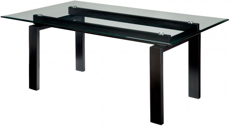 Fashionable Furniture Of America Phyllis Dark Walnut Rectangular Glass Top Regarding Dark Dining Tables (View 11 of 20)