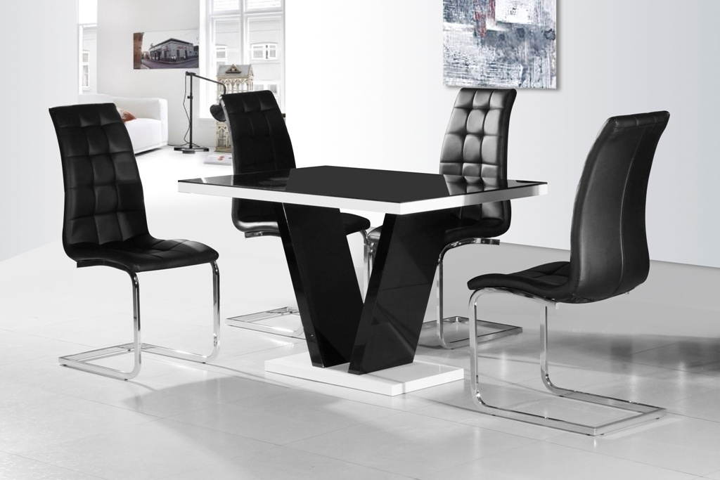 Fashionable Ga Vico Blg White Black Gloss & Gloss Designer 120 Cm Dining Set & 4 Intended For Black Gloss Dining Tables And Chairs (View 11 of 20)