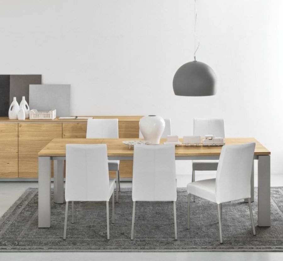 Fashionable Gate Natural Oak Extendable Dining Table With Metal Legs – Style Our Pertaining To Brushed Metal Dining Tables (View 4 of 20)
