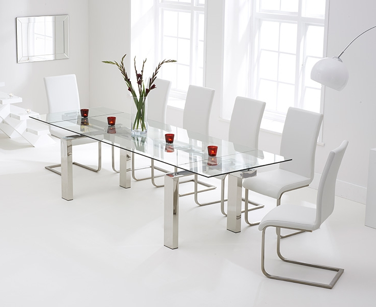 Fashionable Glass Dining Tables White Chairs Intended For Bury Glass 200cm Extending Dining Set With 6 Boston Ivory White Chairs (View 17 of 20)