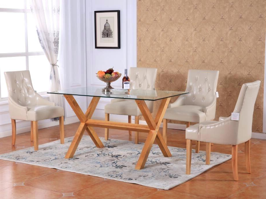 Fashionable Glass Top Dining Room Table And Chairs – Kuchniauani Throughout Glass Dining Tables With Oak Legs (View 4 of 20)