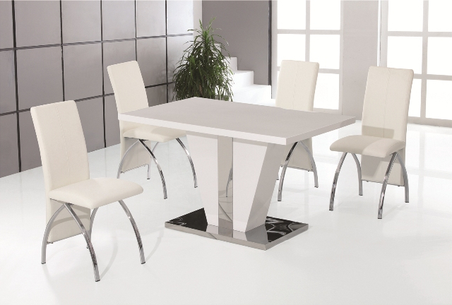 Fashionable Gloss Dining Sets Inside Costilla White High Gloss Dining Table With 4 White Faux Leather (View 8 of 20)