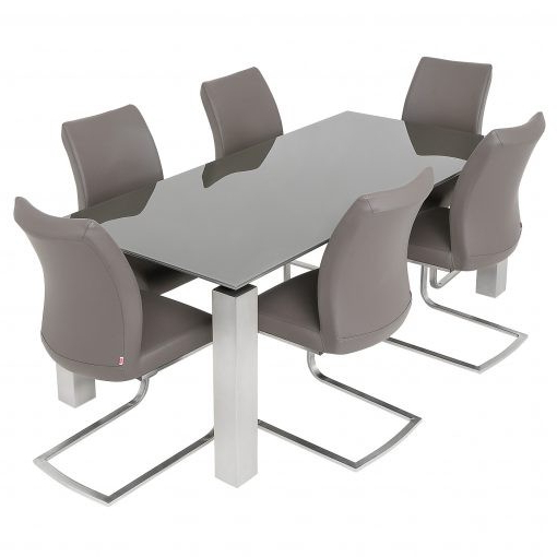 Fashionable Grey Glass Dining Tables Within Grey Glass Dining Table & 6 Pada Chairs (View 5 of 20)