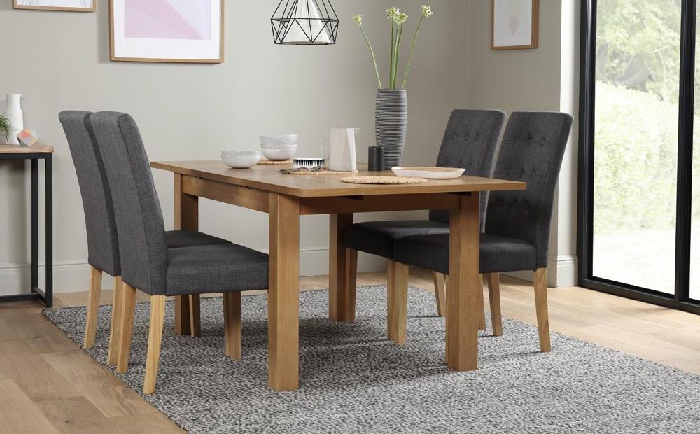 Fashionable Hamilton 120 170Cm Oak Extending Dining Table With 4 Regent Slate With Hamilton Dining Tables (View 2 of 20)