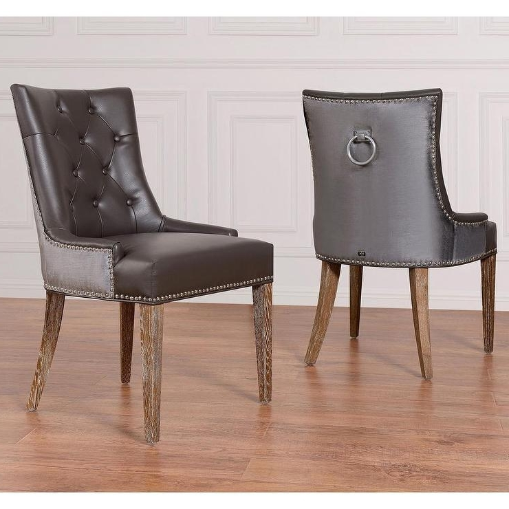 Fashionable Hayes Side Chairs With Regard To Tufted Leather Dining Chair – Thetastingroomnyc (View 5 of 20)