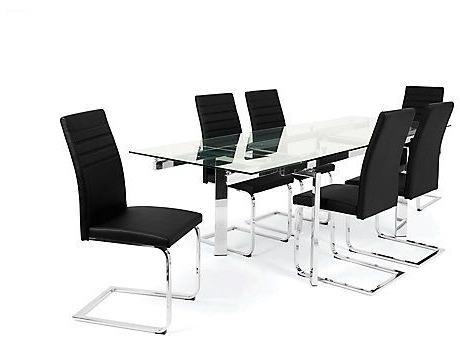 Fashionable Jarrow Extending Clear Dining Table & 4 Alcora Chairs (View 2 of 20)