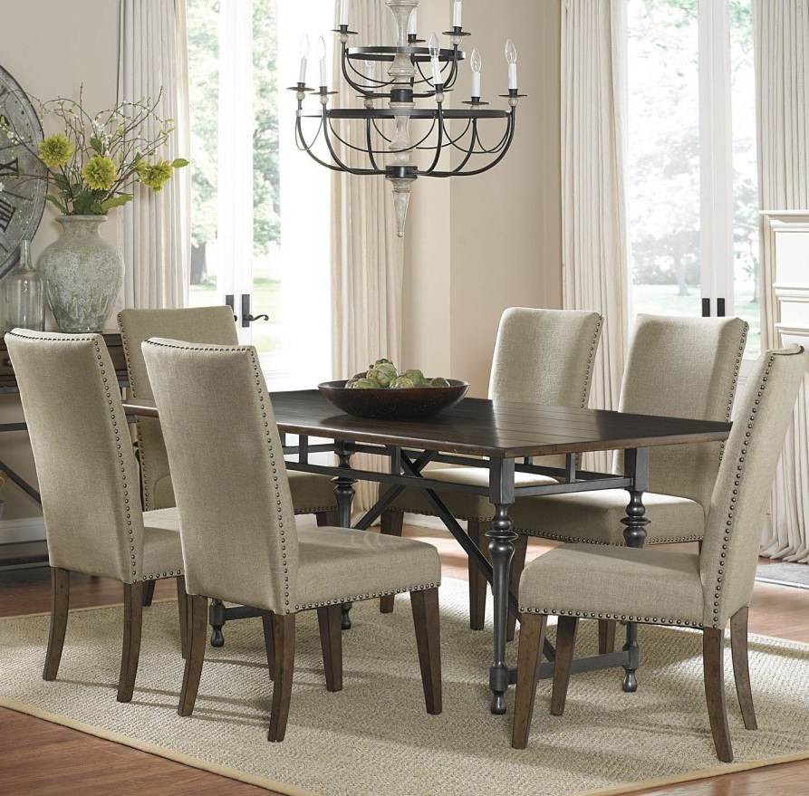 Fashionable Jaxon 7 Piece Rectangle Dining Sets With Upholstered Chairs For Dining Room Spectacular Dining Room Sets With Upholstered Metal (View 8 of 20)