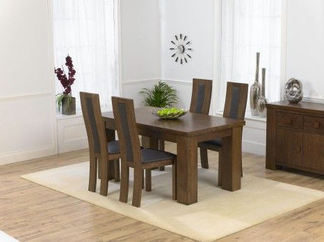 Fashionable Kentucky Dark Solid Oak Dining Table 150Cm With Toronto Chairs In Solid Dark Wood Dining Tables (View 9 of 20)