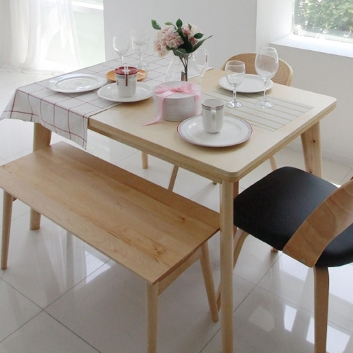 Fashionable Korean Pure Solid Wood Dining Table Turntable Japanese Style Dining Throughout Birch Dining Tables (View 5 of 20)