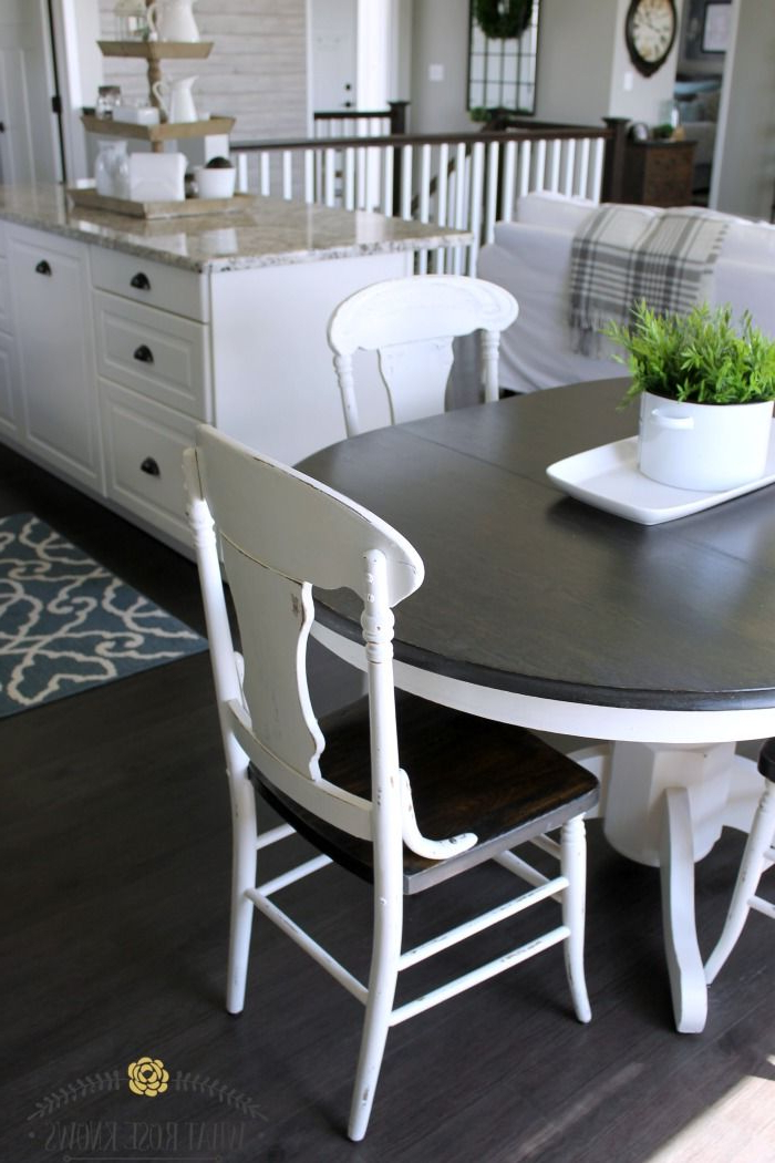 Fashionable Laurent 5 Piece Round Dining Sets With Wood Chairs In Farmhouse Style Painted Kitchen Table And Chairs Makeover In (View 20 of 20)