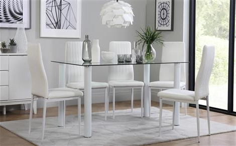 Fashionable Leon Dining Tables For Lunar Glass Dining Table With 6 Leon White Chairs Only £ (View 5 of 20)