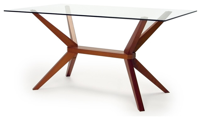 Fashionable Magna Glass Dining Table – Midcentury – Dining Tables Inmod Throughout Wooden Glass Dining Tables (View 12 of 20)