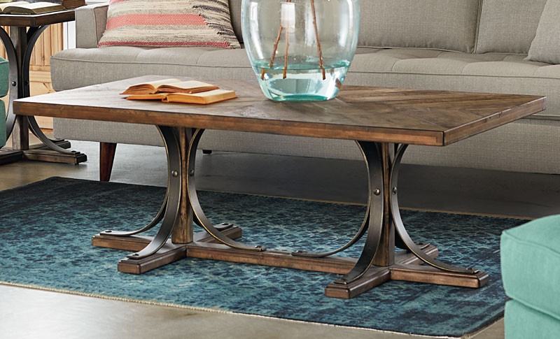 Fashionable Magnolia Home Sawbuck Dining Tables Throughout Iron Trestle Coffee Table – Living Room (View 2 of 20)