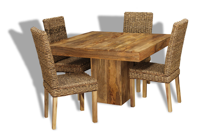 Fashionable Mango 120Cm Cube Dining Table & 4 Rattan Chairs (View 3 of 20)