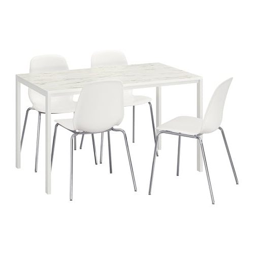 Fashionable Melltorp/leifarne Table And 4 Chairs White Marble Effect/chrome Regarding Marble Effect Dining Tables And Chairs (View 6 of 20)